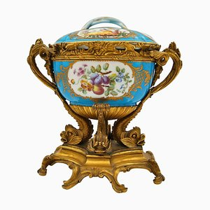Antique Covered Cup in Chiselled, Gilded Bronze & Painted Sèvres Porcelain