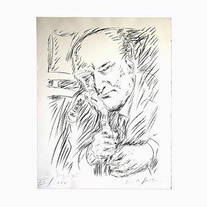 Pericles Fazzini, Portrait of Giuseppe Ungaretti, 1958, Original Lithograph
