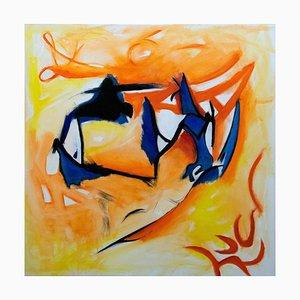 Giorgio Lo Fermo, The Blue Hand, huile sur toile, 2020