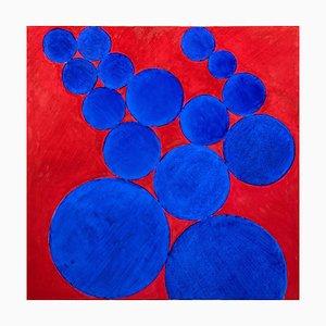 Giorgio Lo Fermo, Blue Circles, 2020, Original Oil on Canvas