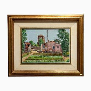 Franco Viola, Landhaus, 1980, Öl auf Schichtholz