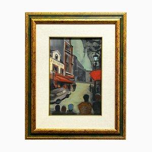 Paris, Öl auf Karton, Mitte des 20. Jahrhunderts
