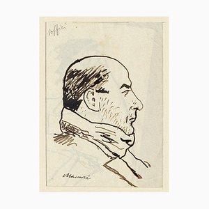Mino Maccari, Portrait of Soffici, Watercolor, 1938