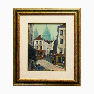 View of Paris, Mid-20th Century, Original Oil on Cardboard