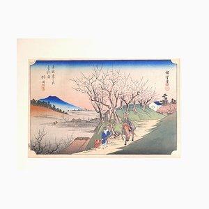 Utagawa Hiroshige (Ando Hiroshige), Plum Trees in fiore a Sugita, Xilografia