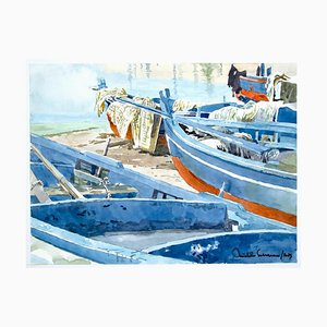 Michele Cascarano, Boats, 2010s, Original Watercolor