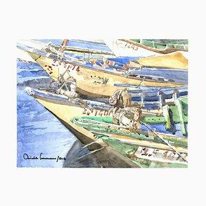 Michele Scarano, Boat, 2010s, Original Watercolor