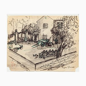 Angelo Griscelli, Lunch in the Countryside, 20th Centrury, Original Drawing