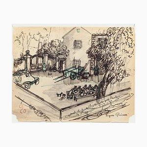 Angelo Griscelli, Mittagessen auf dem Land, 20. Jh., Originale Zeichnung