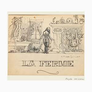 Angelo Griscelli, La Ferme, Arbeit auf Papier, 20. Jahrhundert