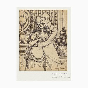 Angelo Griscelli, The Couple, Pencil and Ink, 20th Century