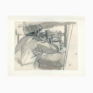 Jacques Hirtz, The Submachine Gun, Watercolored Ink, 20th Century