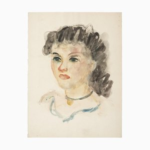Alkis Matheos, Woman's Profile, 20th Century, Original Mixed Media Painting