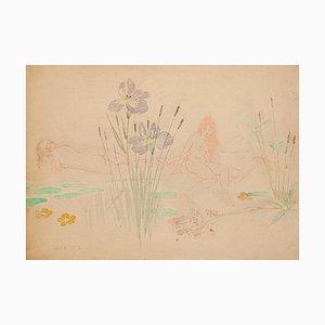 Auguste Rödel, Weizenfeld, Pastell & Aquarell, spätes 19. Jh