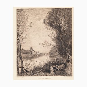 after Jean-Baptiste-Camille Corot, View of Mantes, 19th Century, Etching