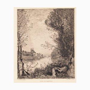 nach Jean-Baptiste Camille Corot, Ansicht von Mantes, 19. Jahrhundert, Radierung
