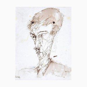 Sergio Barletta, Portrait, Pen and Watercolor, 1960