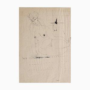 Sergio Barletta, Nude, 1958, Original Drawing in Pen