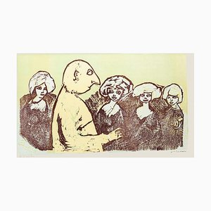 Mino Maccari, Polygamie, Original Holzschnitt, 1960, Druck auf Papier