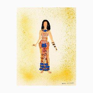 Tapis Alkis Matheos, Costume, Mid-20thth, Peinture Originale