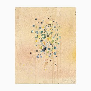 Jean Delpech, Abstract Composition, 1953, Original Watercolor on Paper