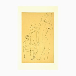 after Egon Schiele, Schiele Drawing a Nude Model in front of a Mirror