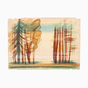 Jean Delpech, Landschaft, 20. Jahrhundert, Originales Aquarell