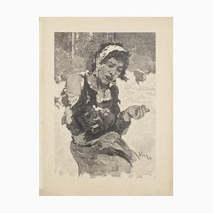 Daniel Vierge, Misery in London, Woodcut Print, 20th Century