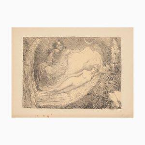 Edmond Marie Gabriël Van Offel, Angle and Nude, Early 1900, Original Lithograph
