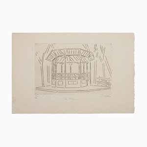 Suzanne Cattan,The Kiosk, Etching, 20th Century