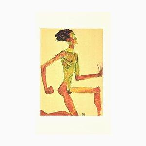 After Egon Schiele, Kneeling Male Nude in Profile, Lithographie Originale