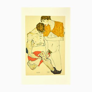 after Egon Schiele, Two Lovers, Original Lithograph