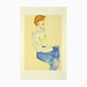 nach Egon Schiele, Sitzendes Mädchen mit nacktem Oberkörper, Originale Lithographie