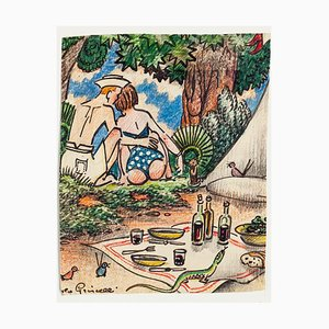 Angelo Griscelli, Picnic, Ink, 20th Century