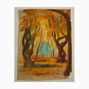 Jean Delpech, im Holz, Mitte 20. Jahrhundert, Originales Aquarell