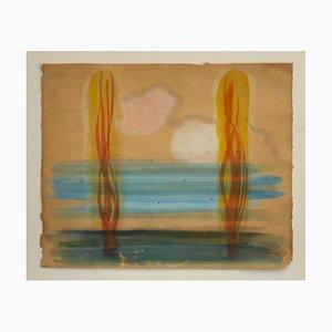 Jean Delpech, Landschaft, Aquarell, Mitte des 20. Jahrhunderts