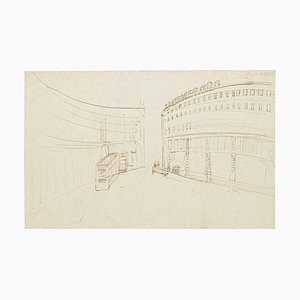 Gustave Bourgogne, Sketch for Two Buildings, Pen on Paper, 20th Century