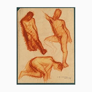 Daniel Ginsbourg, Male Nudes, 1921, Original Drawing on Paper