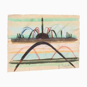 Jean Delpech, Fountain, 1964, Original Watercolor on Paper