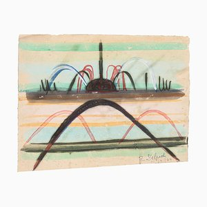 Jean Delpech, Springbrunnen, 1964, Originales Aquarell auf Papier