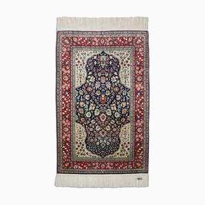 Dark Bkue Silk Floral Hereke With Central Medallion and Border