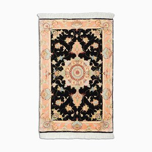 Black Floral Tabriz with Medaillon and Border