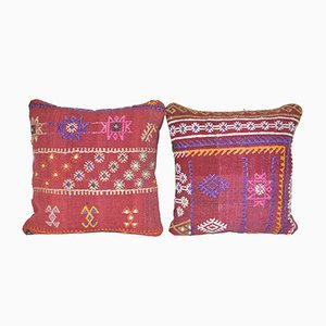 Turkish Lumbar Kilim Cushion Covers with Modern Tribal Design, Set of 2
