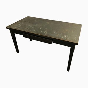 Antique Industrial Steel Dining Table or Desk with Single Drawer