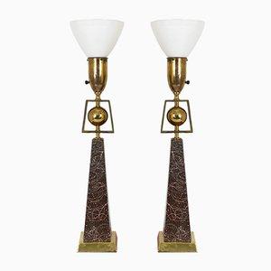 Lampe de Bureau Obelisk Mid-Century Moderne de Rembrandt Lamp Company, États-Unis, Set de 2