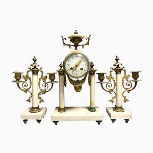 Napoleon III Patinated Bronze & Veined Marble Clock and Candleholders Set