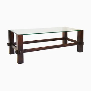Wooden Frame & Glass Top Model 2461 Coffee Table from Fontana Arte, 1960s