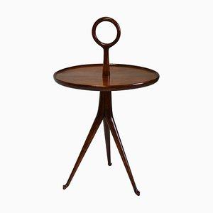 Tavolino da caffè tripode in legno con ripiano rotondo di Cesare Lacca, anni '50