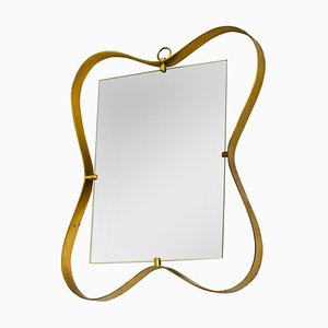 Wall Mirror with Brass Frame from Fontana Arte, 1950s