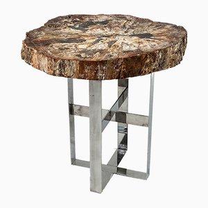 Antiker Cocktailtisch mit Fossil Platte auf Stahlsockel